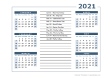 2021 calendar Template 6 months on one page