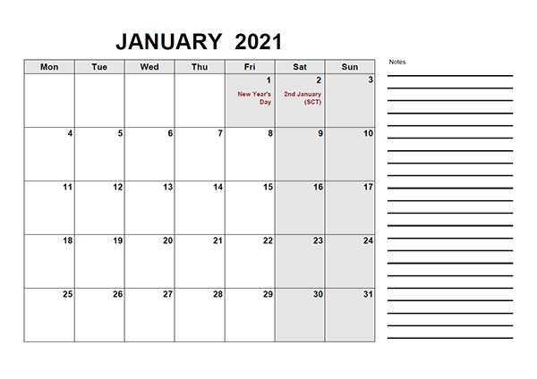 2021 Calendar with UK Holidays PDF