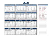2021 Canada Annual Calendar with Holidays