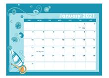 2021 calendar in colorful design