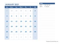 2021 Editable Monthly Word Calendar Template