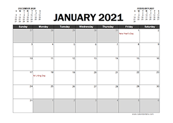 Printable 2021 Excel Calendar Templates   CalendarLabs