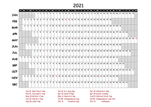 2021 Excel Calendar Project Timeline