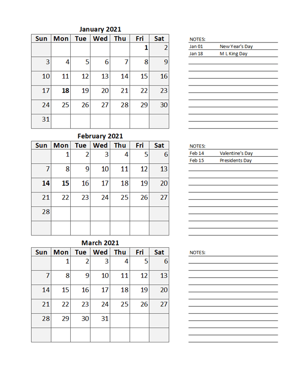 Free 2021 Quarterly Calendar Spreadsheet