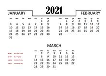 2021 Quarterly Calendar Template