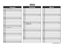 Editable 2021 Excel Three Month Calendar