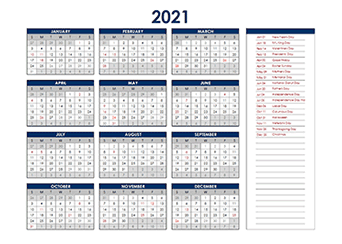 2021 Excel Yearly Calendar