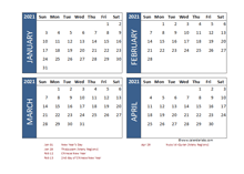 2021 Four Month Calendar with Malaysia Holidays