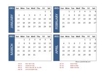 2021 Four Month Calendar with UAE Holidays