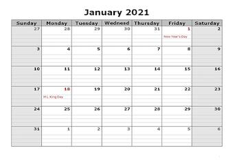 2021 Free Printable Apple Pages Calendar