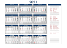 2021 India Annual Calendar with Holidays