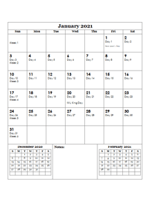 2021 Julian Day Calendar