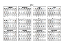 2021 Landscape Printable Calendar