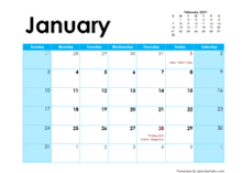 2021 Malaysia Monthly Calendar Colorful Design