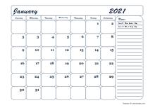 2021 blank calendar template monthly