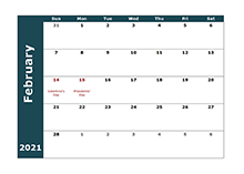 2021 Monthly Calendar Template