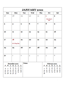 Monthly Calendar 2021 With Holidays - March 2021