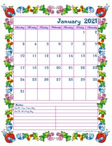 2021 monthly calendar for kindergarten kids
