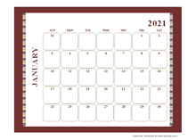 2021 calendar template large boxes