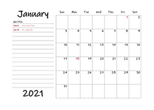 2021 Calendar Template with Monthly Notes