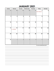 2021 Monthly Excel Template Calendar