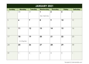 2021 Monthly Google Docs Calendar Template
