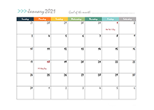 2021 Monthly Pages Calendar Template
