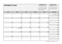 2021 Monthly Planner Template Microsoft Word