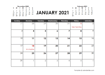 Printable 2021 Word Calendar Templates   CalendarLabs