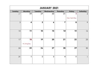 2021 Monthly US Holidays LibreOffice Calendar