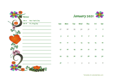 2021 Monthly Word Calendar Design Template