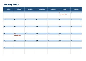 2021 OneNote Calendar Template
