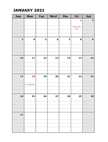 2021 Pages Calendar with Holidays