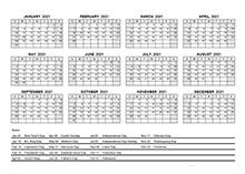 2021 pdf yearly calendar with holidays