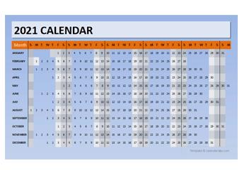 2021 Powerpoint Calendar Timeline
