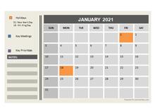 2021 Powerpoint Calendar With Holidays