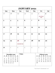 2021 Printable Calendar with Australia Holidays