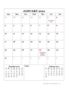 2021 Printable Calendar with Malaysia Holidays