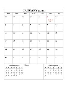 2021 Printable Calendar with UAE Holidays