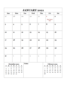 2021 Printable Calendar with UK Holidays