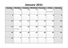 2021 Printable Landscape Monthly Calendar