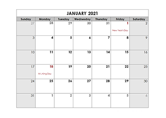 2021 Printable Apple Pages Holiday Calendar