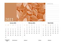 2021 Printable Three Months Calendar
