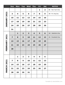 2021 Quarterly Events Calendar Word Template