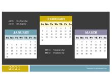 2021 Quarterly Powerpoint Calendar