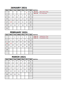 2021 Quarterly Word Calendar With Holidays