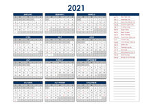 2021 Singapore Annual Calendar with Holidays
