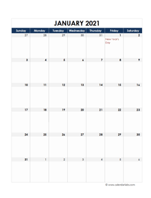 2021 South Africa Calendar Spreadsheet Template
