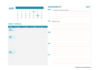 2021 Student Calendar