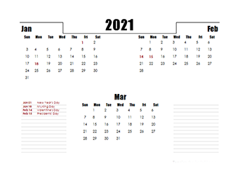 2021 Quarterly Three Month Calendar